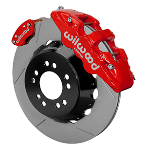 Wilwood AERO4-MC4 Big Brake Rear Parking Brake Kit - Red Powder Coat Caliper - GT Slotted Rotor