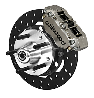 Wilwood Dynapro Lug Mount Front Dynamic Drag Brake Kit - Nickel Plate Caliper - Drilled Rotor