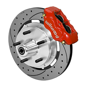 Wilwood Forged Dynalite Big Brake Front Brake Kit (5 x 5 Hub) - Red Powder Coat Caliper - SRP Drilled & Slotted Rotor