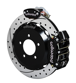 Wilwood Dynapro Radial-MC4 Rear Parking Brake Kit - Black Powder Coat Caliper - SRP Drilled & Slotted Rotor