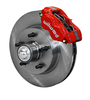 Wilwood Classic Series Dynalite Front Brake Kit - Red Powder Coat Caliper - Plain Face Rotor