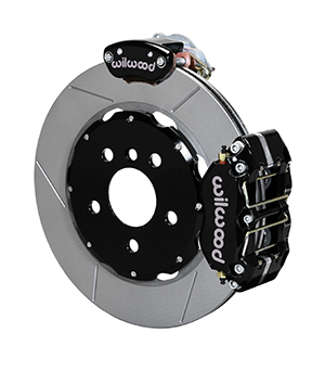 Wilwood Dynapro Radial-MC4 Rear Parking Brake Kit - Black Powder Coat Caliper - GT Slotted Rotor