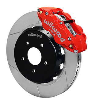 Wilwood Forged Narrow Superlite 6R Dust-Seal Big Brake Front Brake Kit (Hat) - Red Powder Coat Caliper - GT Slotted Rotor