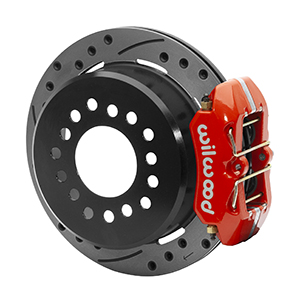Wilwood Forged Dynapro Low-Profile Dust Seal Rear Parking Brake Kit - Red Powder Coat Caliper - SRP Drilled & Slotted Rotor