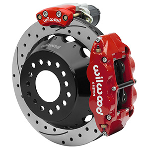 Wilwood Forged Narrow Superlite 4R Big Brake Rear Electronic Parking Brake Kit - Red Powder Coat Caliper - SRP Drilled & Slotted Rotor