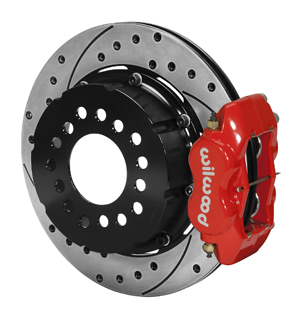 Wilwood Forged Dynalite Pro Series Rear Brake Kit - Red Powder Coat Caliper - SRP Drilled & Slotted Rotor