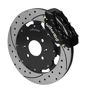 Wilwood Forged Dynalite Big Brake Front Brake Kit (Hat) - Black Powder Coat Caliper - SRP Drilled & Slotted Rotor
