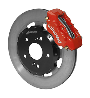 Wilwood Forged Dynalite Big Brake Front Brake Kit (Hat) - Red Powder Coat Caliper - Plain Face Rotor