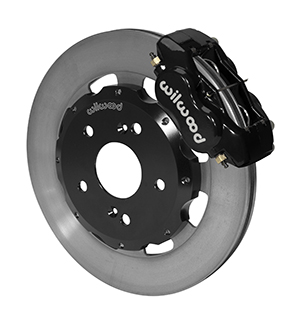 Wilwood Forged Dynalite Big Brake Front Brake Kit (Hat) - Black Powder Coat Caliper - Plain Face Rotor