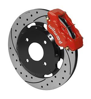Wilwood Forged Dynalite Big Brake Front Brake Kit (Hat) - Red Powder Coat Caliper - SRP Drilled & Slotted Rotor