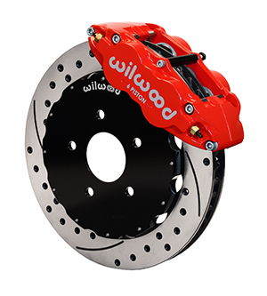 Wilwood Forged Narrow Superlite 6R Big Brake Front Brake Kit (Hat) - Red Powder Coat Caliper - SRP Drilled & Slotted Rotor