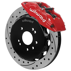Wilwood Forged Superlite 4 Big Brake Front Brake Kit (Hat) - Red Powder Coat Caliper - SRP Drilled & Slotted Rotor