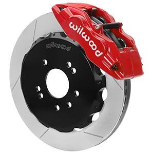 Wilwood Forged Superlite 4 Big Brake Front Brake Kit (Hat) - Red Powder Coat Caliper - GT Slotted Rotor