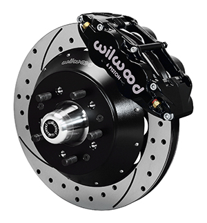 Wilwood Forged Narrow Superlite 6R Big Brake Front Brake Kit (Hub) - Black Powder Coat Caliper - SRP Drilled & Slotted Rotor