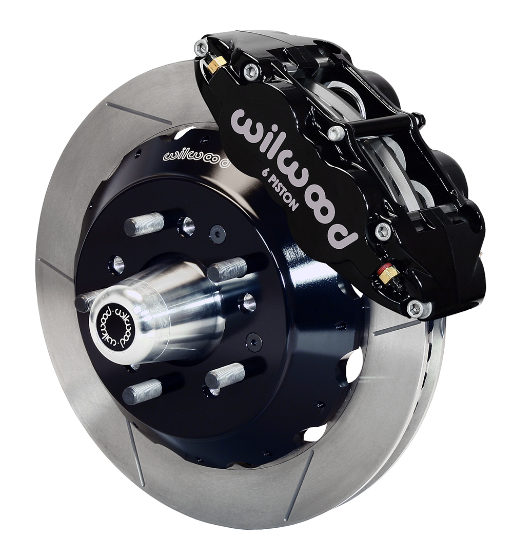 Wilwood Forged Narrow Superlite 6R Big Brake Front Brake Kit (Hub) - Black Powder Coat Caliper - GT Slotted Rotor