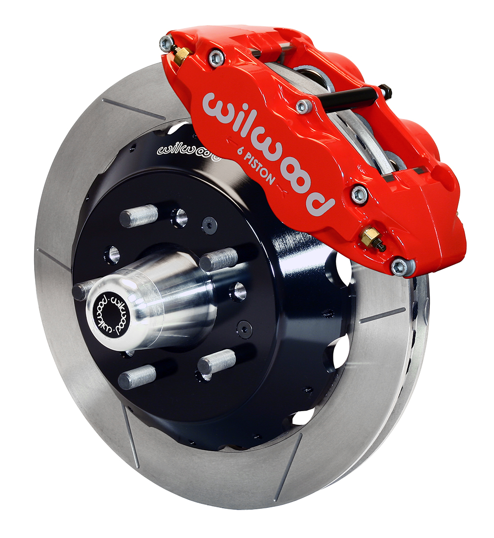 Wilwood Forged Narrow Superlite 6R Big Brake Front Brake Kit (Hub) - Red Powder Coat Caliper - GT Slotted Rotor