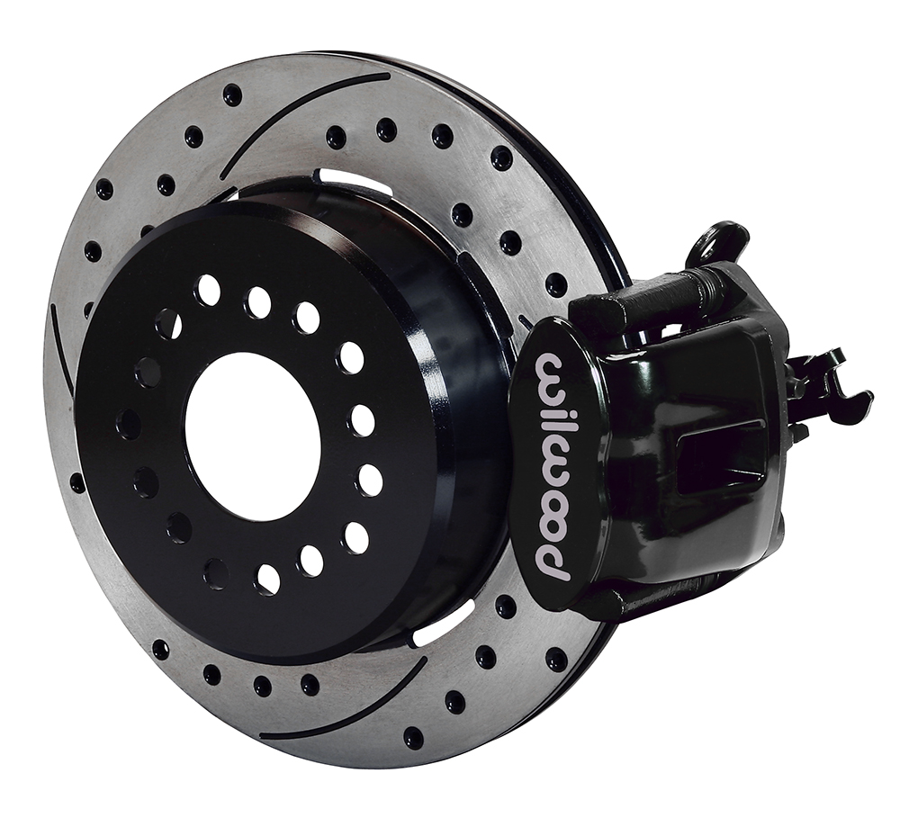 Wilwood Combination Parking Brake Caliper 1Pc Rotor Rear Brake Kit - Black Powder Coat Caliper - SRP Drilled & Slotted Rotor
