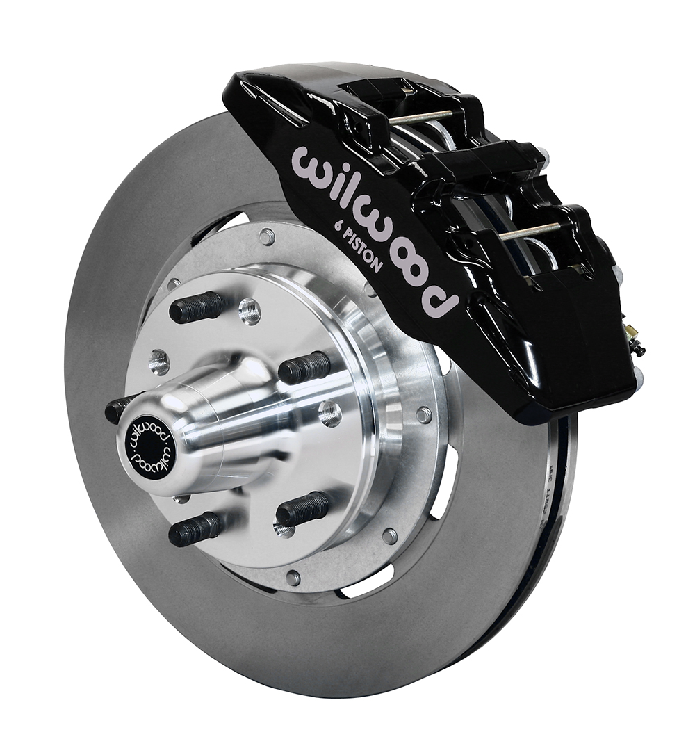 Wilwood Forged Dynapro 6 Big Brake Front Brake Kit (Hub) - Black Powder Coat Caliper - Plain Face Rotor
