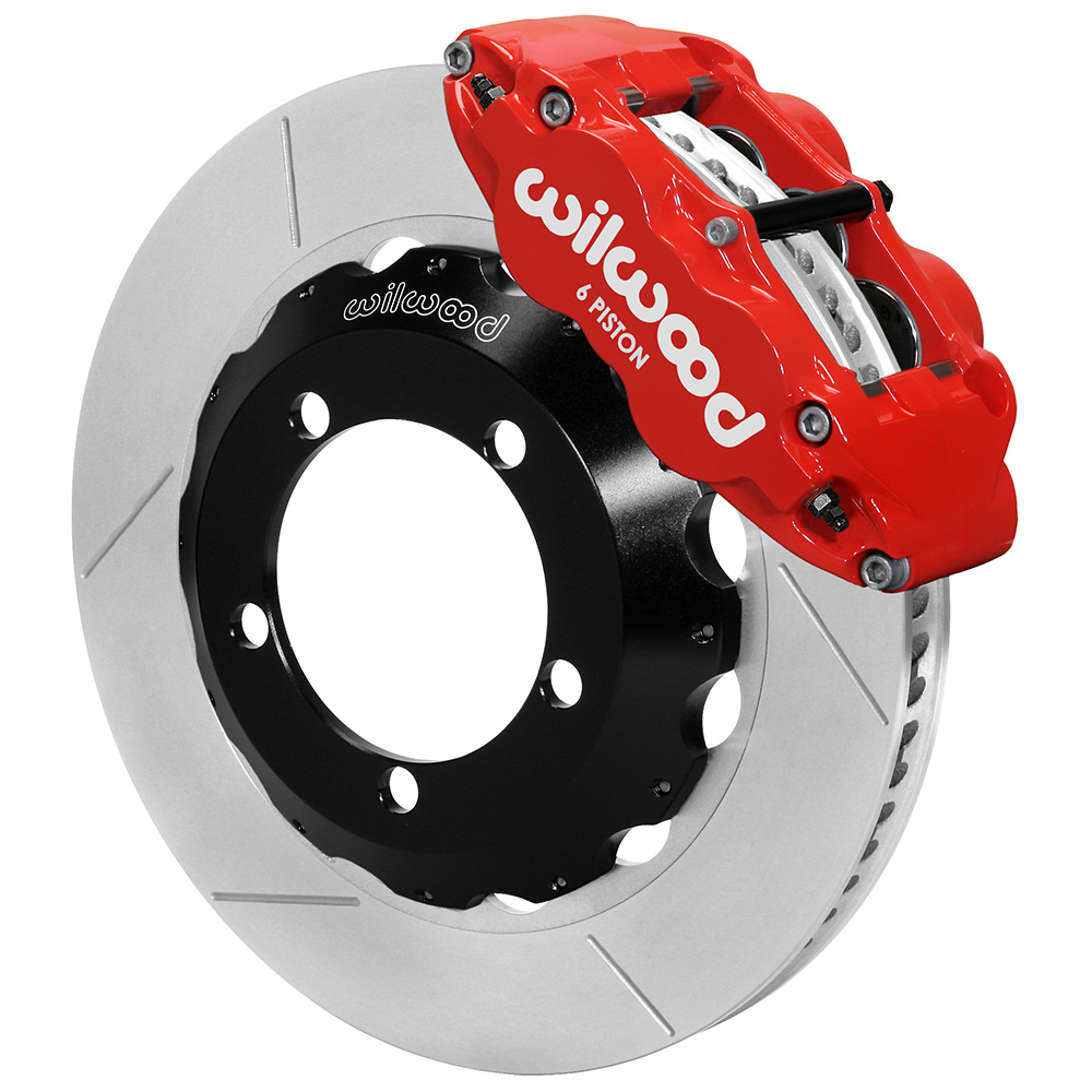 Wilwood Forged Narrow Superlite 4R Big Brake Front Brake Kit (Hat) - Red Powder Coat Caliper - GT Slotted Rotor
