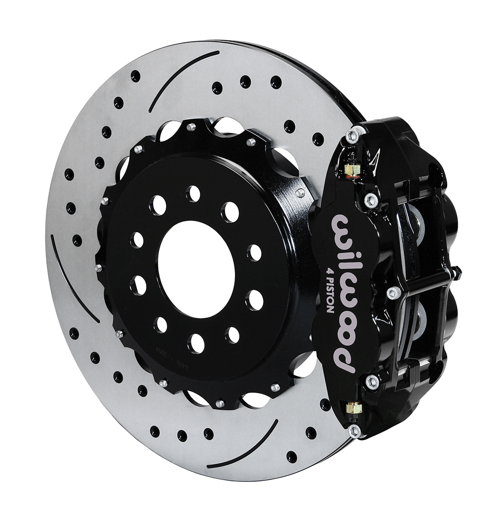 Wilwood Forged Narrow Superlite 4R Big Brake Rear Kit - Black Powder Coat Caliper - SRP Drilled & Slotted Rotor