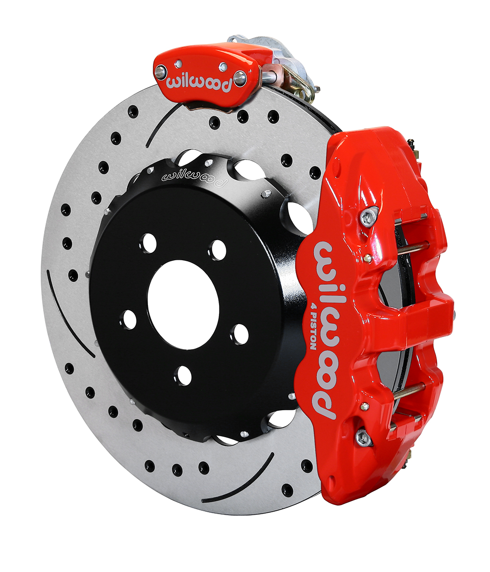 Wilwood AERO4-MC4 Big Brake Rear Parking Brake Kit - Red Powder Coat Caliper - SRP Drilled & Slotted Rotor