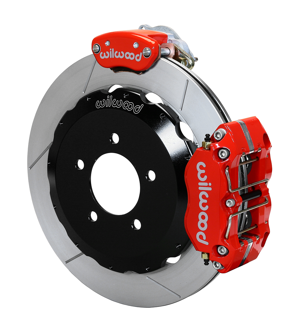 Wilwood Dynapro Radial-MC4 Rear Parking Brake Kit - Red Powder Coat Caliper - GT Slotted Rotor