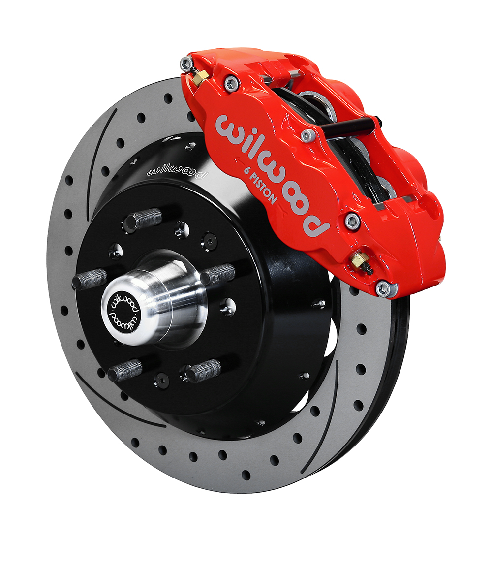 Wilwood Forged Narrow Superlite 6R Big Brake Front Brake Kit (5 x 5 Hub) - Red Powder Coat Caliper - SRP Drilled & Slotted Rotor