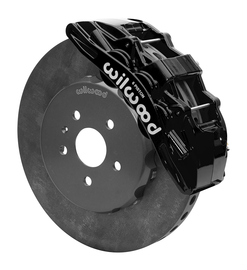 Wilwood SX6R WCCB Carbon-Ceramic Big Brake Front Brake Kit - Black Powder Coat Caliper - Plain Face Rotor