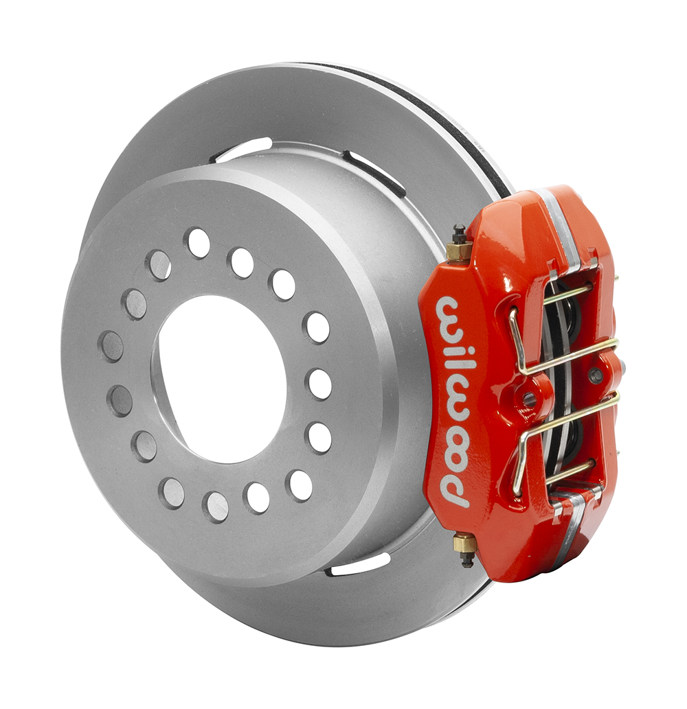 Wilwood Forged Dynapro Low-Profile Dust Seal Rear Parking Brake Kit - Red Powder Coat Caliper - Plain Face Rotor