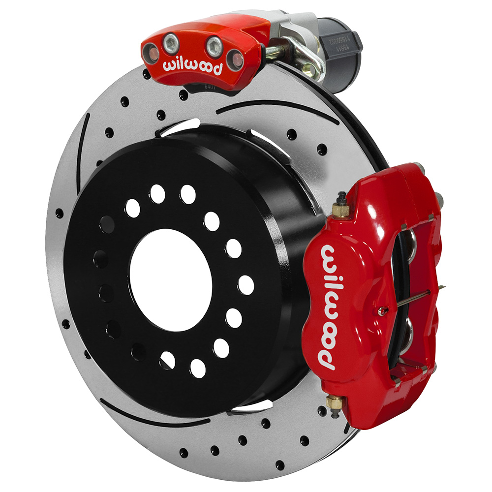 Wilwood Forged Dynalite Rear Electronic Parking Brake Kit - Red Powder Coat Caliper - SRP Drilled & Slotted Rotor