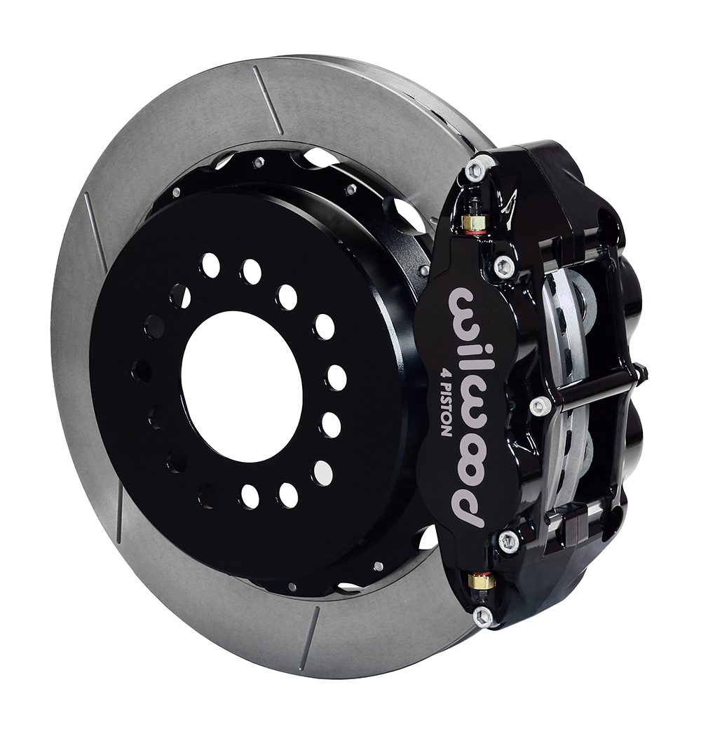 Wilwood Forged Narrow Superlite 4R Big Brake Rear Parking Brake Kit - Black Powder Coat Caliper - GT Slotted Rotor