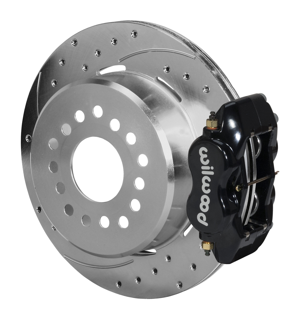 Wilwood Forged Dynalite Rear Parking Brake Kit - Black Powder Coat Caliper - SRP Drilled & Slotted Rotor