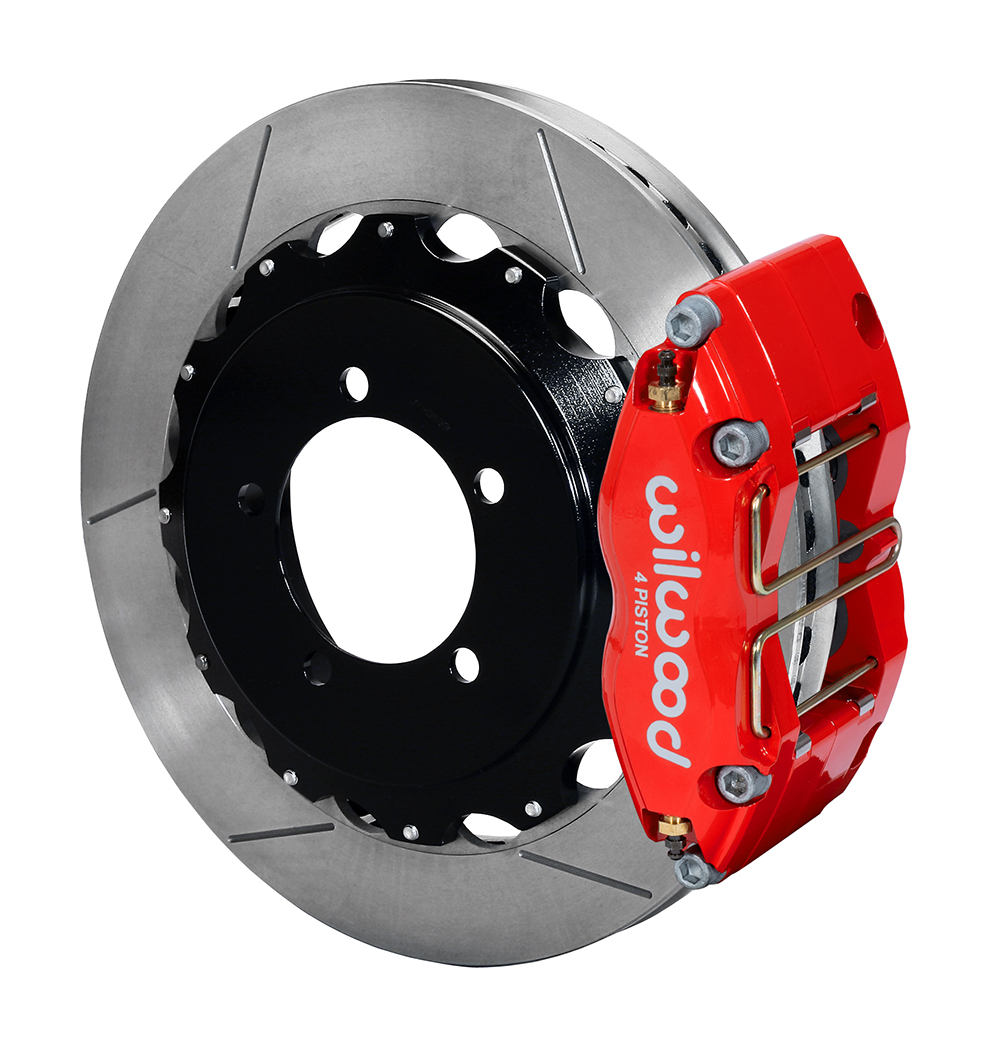 Wilwood Dynapro Radial Rear Brake Kit For OE Parking Brake - Red Powder Coat Caliper - GT Slotted Rotor