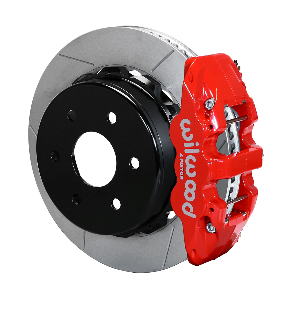 Wilwood AERO4 Big Brake Truck Rear Brake Kit - Red Powder Coat Caliper - GT Slotted Rotor