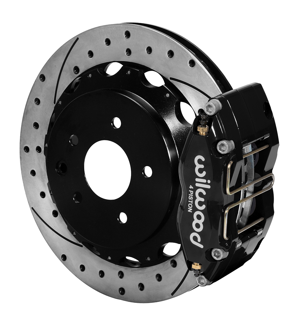 Wilwood Dynapro Radial Rear Brake Kit For OE Parking Brake - Black Powder Coat Caliper - SRP Drilled & Slotted Rotor