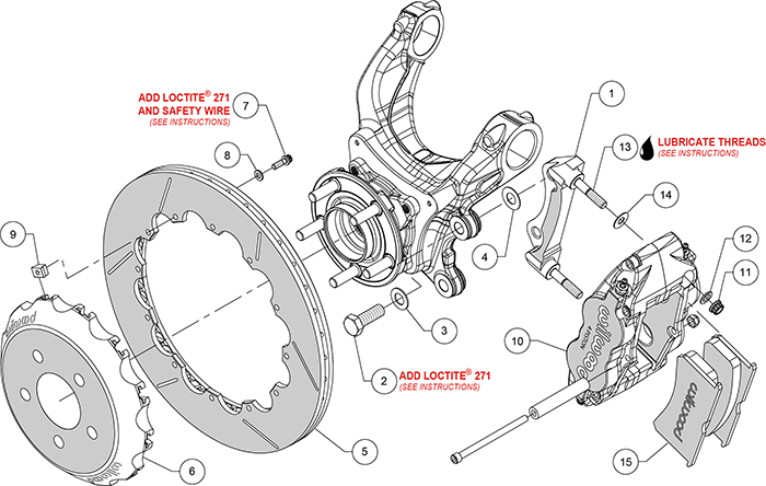 Forged Superlite 4R Big Brake Rear Brake Kit (Race) Assembly Schematic