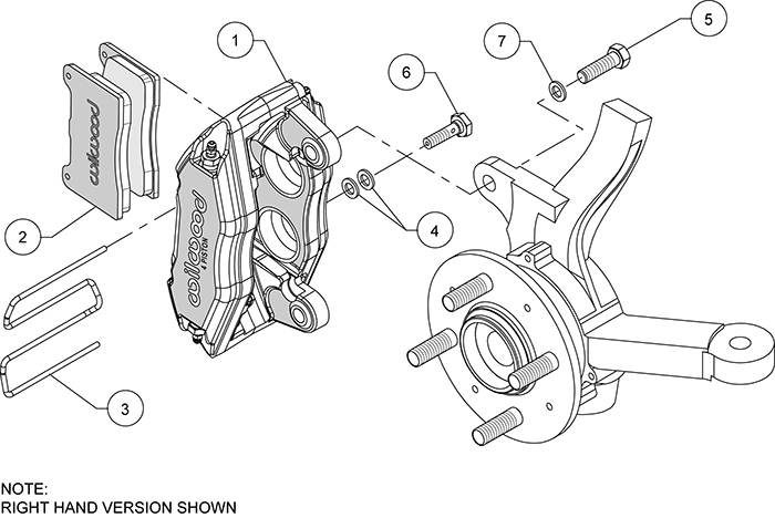 Forged DPHA Front Caliper Kit Assembly Schematic