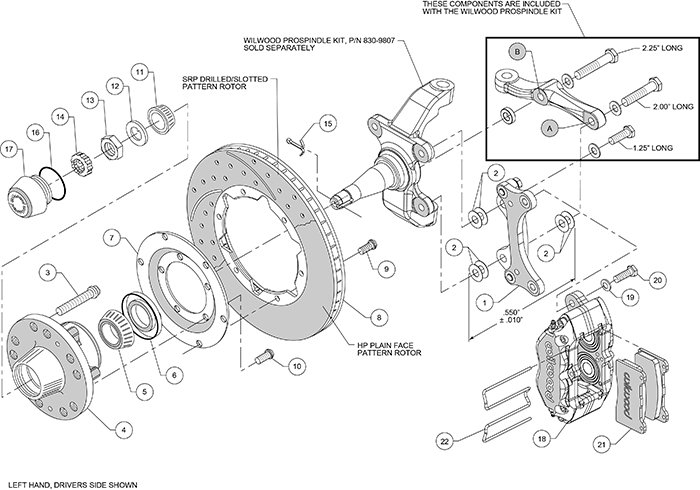 Dynapro Dust-Boot Pro Series Front Brake Kit Assembly Schematic