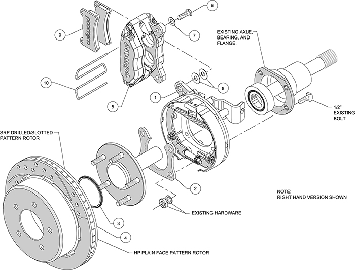 Dynapro Lug Mount Rear Parking Brake Kit Assembly Schematic