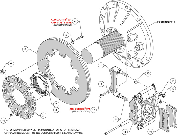 Billet Narrow Dynalite Radial Mount Sprint Inboard Brake Kit Assembly Schematic