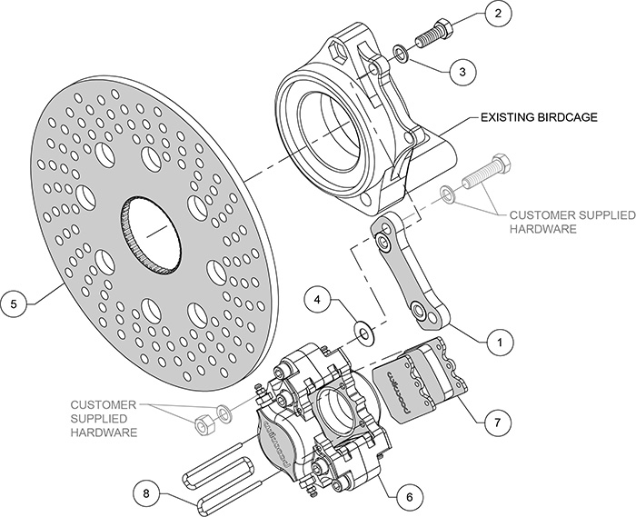 Dynapro Single Right Rear Brake Kit Assembly Schematic