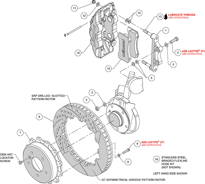 AERO4 Big Brake Rear Brake Kit For OE Parking Brake Assembly Schematic