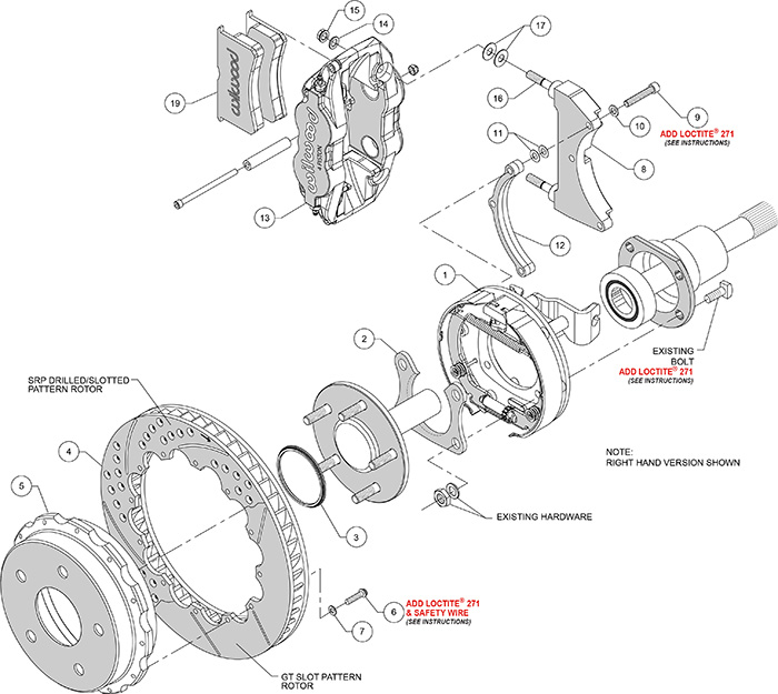 Forged Narrow Superlite 4R Big Brake Rear Parking Brake Kit Assembly Schematic