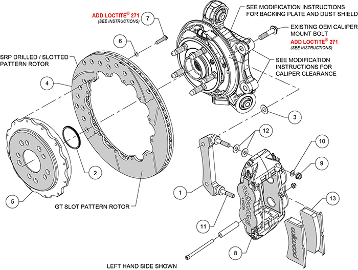Forged Narrow Superlite 4R Big Brake Rear Kit Assembly Schematic