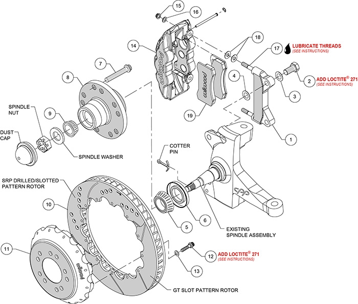 AERO6 Big Brake Front Brake Kit Assembly Schematic