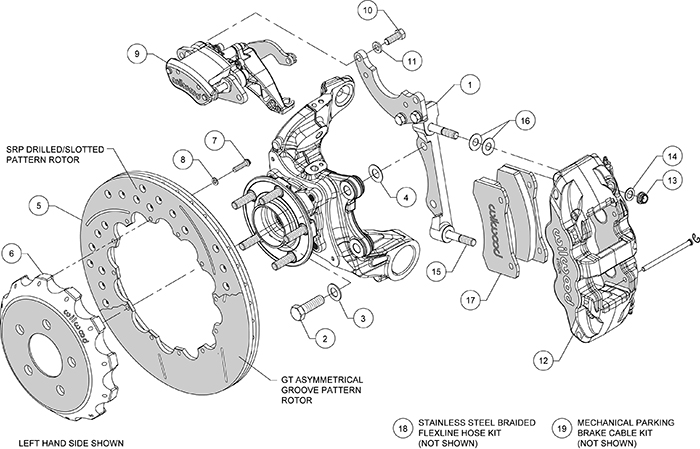 AERO4-MC4 Big Brake Rear Parking Brake Kit Assembly Schematic