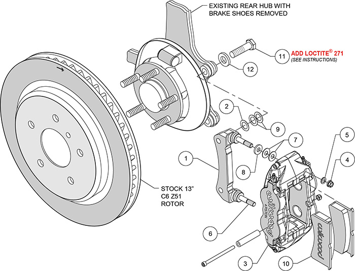 forged narrow superlite 4r caliper and bracket upgrade kit for corvette  c5-c6 assembly schematic