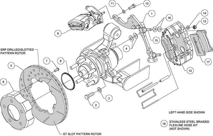 Dynapro Radial-MC4 Rear Parking Brake Kit Assembly Schematic
