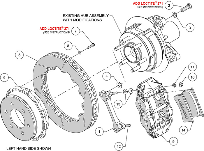 Forged Narrow Superlite 6R Big Brake Rear Brake Kit For OE Parking Brake Assembly Schematic
