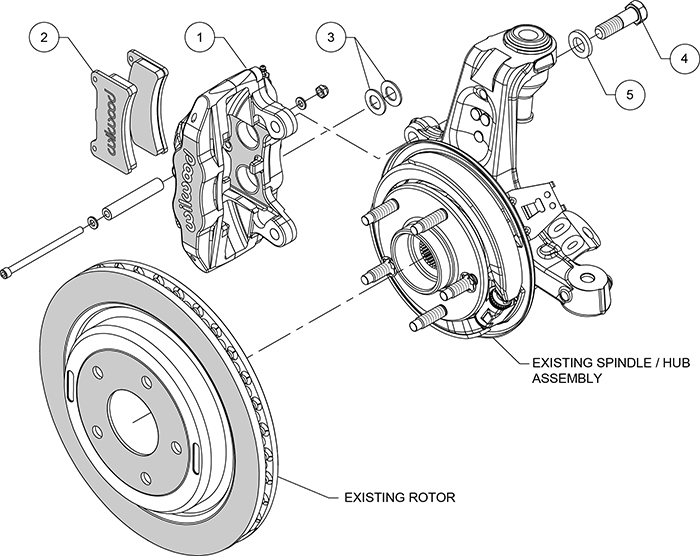 DPC56 Rear Replacement Caliper Kit Assembly Schematic